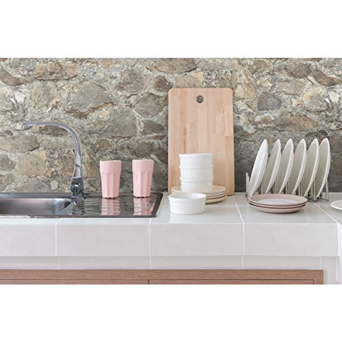 RoomMates RMK9096WP Gray and Almond Weathered Stone Peel and Stick Wallpaper