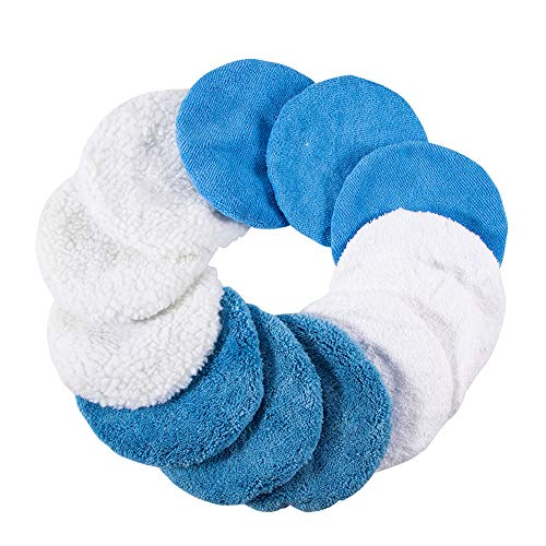 ONETEKS Car Polisher Bonnet (5 to 6 Inch) - Woolen Max Waxer Pads - Polishing Bonnet Pad for Most Car Polishers (Pack of 12 Pcs) (Woollen+Cotton+Microfiber+Coral Fleece, 5-6Inch)