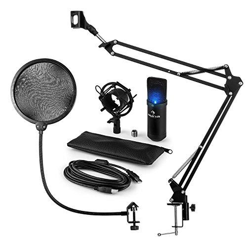 auna Mikrofonset V4 - Heimstudio Set, 3-teilig, MIC-900B, USB Kondensatormikrofon, Pop-Schutz, faltbarer Mikrofonarm, Mikrofonspinne, Plug & Play, Tragkraft 1,5 kg, schwarz