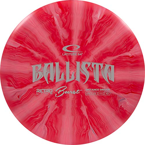Latitude 64 Retro Burst Ballista Disc Golf Driver | Maximum Distance Frisbee Golf Driver | Stable Golf Disc | Stamp Colors Will Vary (Red)