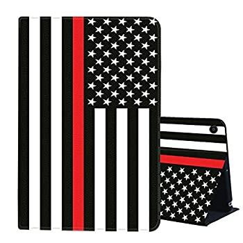 Case for All-New Kindle Fire HD 8 Tablet  10th Generation,2020 Release ,AIRWEE Slim Leather Stand Smart Cover with Auto Wake/Sleep for Amazon Fire HD 8 Plus,Thin Red Line Flag