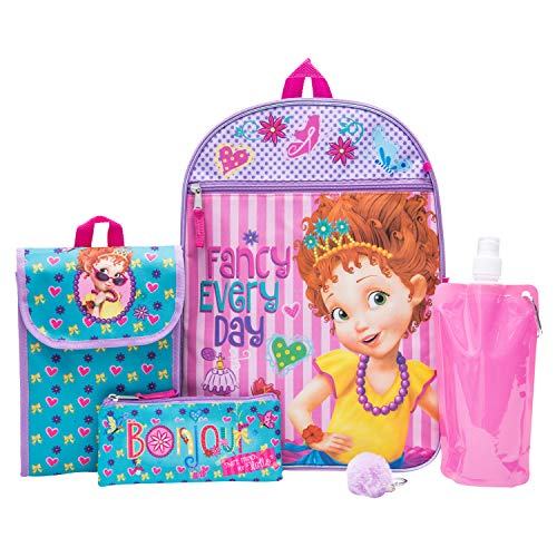 Fancy Nancy Backpack Combo Set - Disney Fancy Nancy Girls' 6 Piece Backpack Set - Backpack & Lunch Kit (Pink)