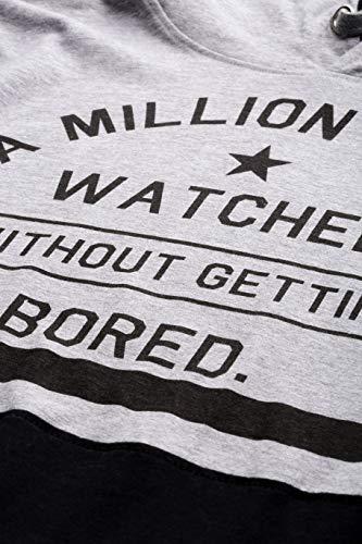 Maniac Men's Printed Fullsleeve Hooded Grey and Black Cotton T-Shirt