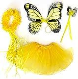 Tante Tina Costume da Farfalla per Bambina - Vestito Farfalla da Bimba in 4 Pezzi: Gonna in Tulle, Ali, Bacchetta e Cerchietto - Giallo Monarca - Indicato per i Bambini da 2 a 8 Anni