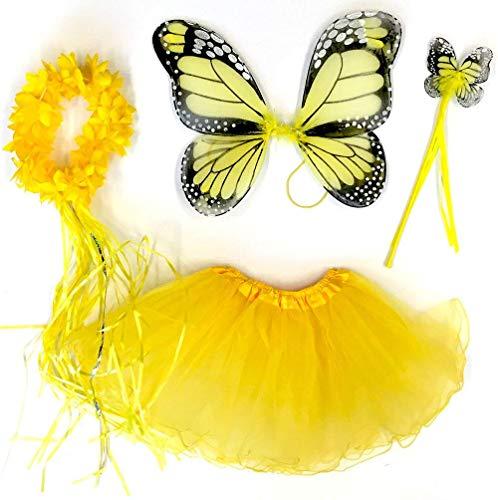 Tante Tina Schmetterling Kostüm Mädchen - 4-teiliges Mädchen Kostüm Schmetterling mit Tüllrock , Flügel , Zauberstab und Haarreif - Monarchfalter Gelb - geeignet für Kinder von 2 bis 8 Jahren