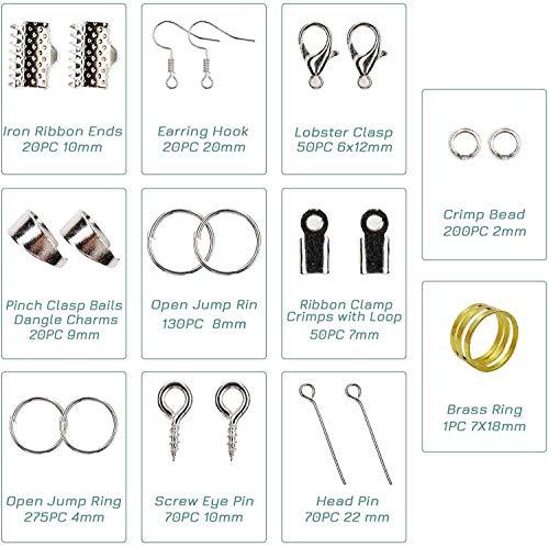 Kit de accesorios de joyería hechos a mano, juego de abalorios y fabricación de joyas con alicates para principiantes de bricolaje, suministros de joyería, plata