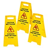 Alpine Industries 24-Inch Caution Wet Floor Sign - 3 Pack A-Frame Bright Yellow Warning Sign - Sturdy Double Sided Fold Out Bilingual Floor Safety Alert Ideal for Commercial Use