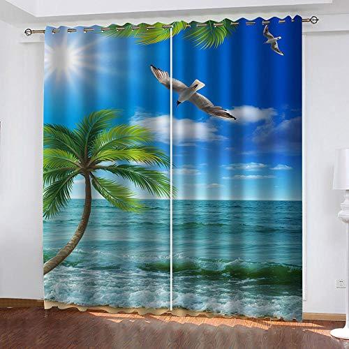 BKTTDS Tende Soggiorno Moderne 2 Pezzi, Motivo Stampati in Vista Mare delle Hawaii 3D Tende Oscuranti Camera da Letto con Anelli 220X210cm, Tende Oscuranti per Decorazione di Finestre Interne