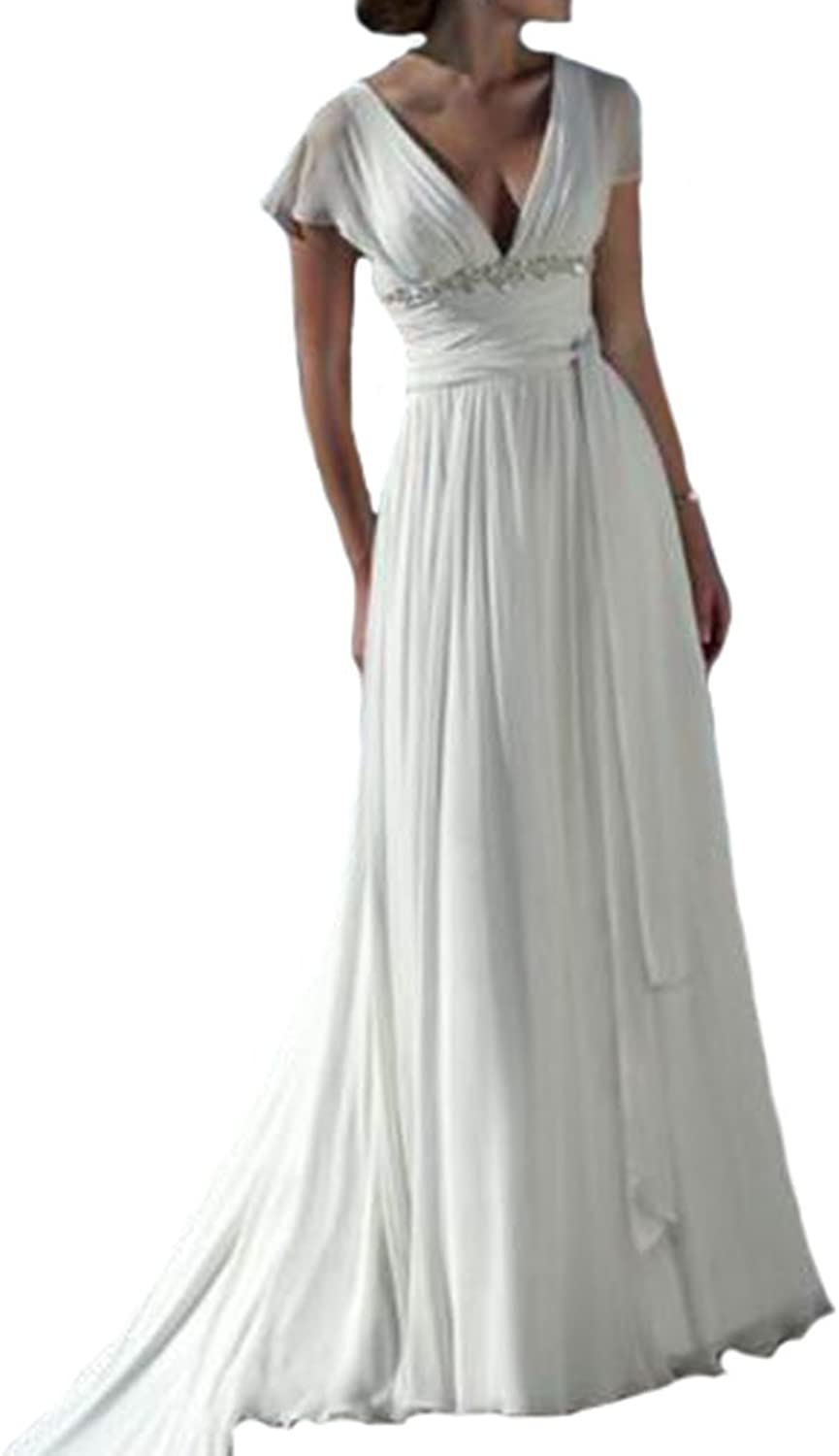 Gralre Women's Cap Sleeves Long Beach Wedding Dresses Double V Neck Bridal Gowns