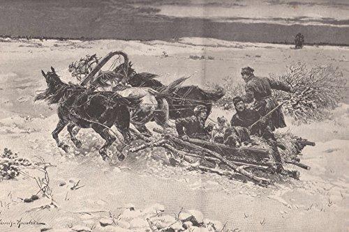 Podolien - Ansicht einer Winterfahrt in Podolien (in den Ebenen am Bug und an der Düna). Ein einfacher, von 3 Litauer-Pferden gezogener Schlitten, auf der Fahrt zur Jagd. [Grafik]