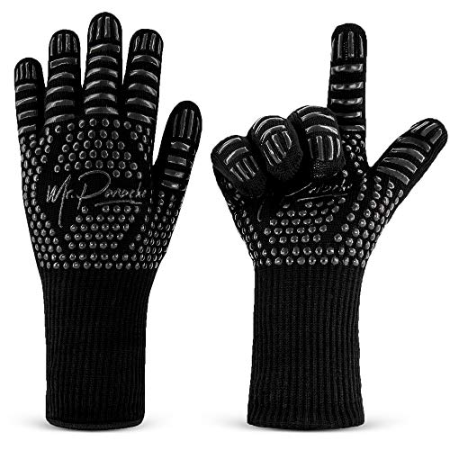 Grillhandschuhe Hitzebeständig bis zu 800 °C, Feuerfeste Handschuhe Schwarz, Ideal als Backhandschuhe Ofenhandschuhe Bietet Handgelenkschutz und Einfachen Griff für Ihre Hände