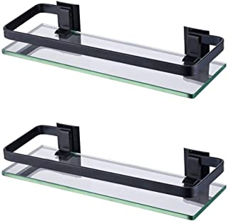 KES Bathroom Glass Shelf Aluminum Black Extra Thick Tempered Glass Rectangular 1 Tier Basket Wall Mounted, 2 Pack, A4126A-BK-P2