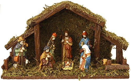 Home&Style 463310 Weihnachtskrippe 39 x 22,5 cm mit 8 Holzfiguren und Beleuchtung, Batteriebetrieben