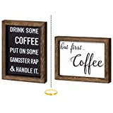 Mkono 1 Pack Farmhouse Coffee Signs Decor Rustic Wood Coffee Table Signs Decor with Sayings, Office Home Wall Table Decor, 2 Sides