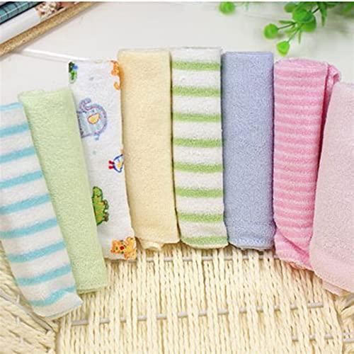 8pcs / lote pequeño cuadrado suave suave lindo toalla de bebé pañuelo for niños niños niños alimentación de la cara de baño de la cara de lavado de la toalla (Color : Color random)