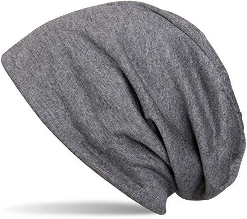 styleBREAKER Klassische Slouch Beanie Mütze, leicht und weich, Longbeanie, Unisex 04024018, Farbe:Dunkelgrau meliert