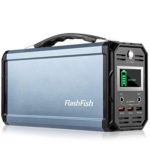 FlashFish ポータブル電源 大容量 60000mAh/222Wh AC(300W 瞬間最大350W) DC(168W) 家庭用蓄電池 USB出力 急速充電QC3.0搭載 純正弦波 ポータブルバッテリー モバイル電源 三つの充電方法 ソーラー充電 キ