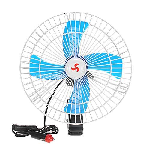 WZhen Ventilador De Coche Automático Portátil 10 Pulgadas Clip-On Oscilando 12/24 Voltios Ventilador De Aire De Refrigeración - 12V