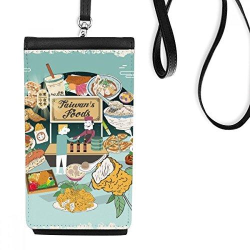 DIYthinker Taiwan Travel Night markt Slang Faux Leer Smartphone Hangende portemonnee Zwart Telefoon Portemonnee Gift