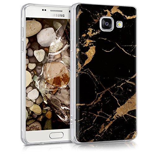 kwmobile Funda Compatible con Samsung Galaxy A5 (2016) - Carcasa de TPU y mármol clásico en Negro/Dorado