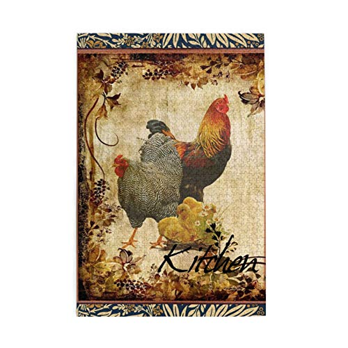Puzzles for Adults 1000 Piece Vintage Roosters Jigsaws Puzzles Wall Art Kids Family Puzzle Games Christmas Gifts Home Decor Poster Puzzles