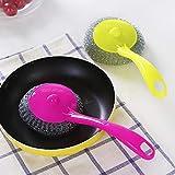 XKMY Bola limpia útil mango largo olla de la cocina cepillo de limpieza de alambre de acero bola amaranto mango estropajo novedad hogar limpio herramientas