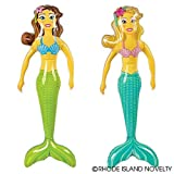 RIN Set of (6) Inflatable Mermaids (36in.) / Ocean / Party Favor / Decor / Gift / Prize / Giveaway