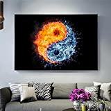 Decoración del hogar Pinturas en lienzo de fuego y agua Impresión en lienzo Arte de la pared Impresiones Arte pop Yin y Yang Cuadros decorativos de pared | 60x80cm | Sin marco