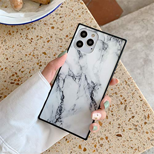 Square Marble iPhone 12/12 Pro 5G Soft Case,Hosgor Glossy Silicone Corners Strengthen Protection Flexible TPU Bumper Slim Gloss Shockproof Cover for iPhone 12/12 Pro - 6.1inch 2020 (White)