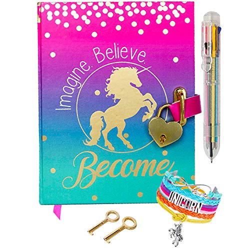 Life is a Doodle Diary for Girls with Upgraded Lock and Keys - Unicorn Journal w/ Adjustable Bracelet and Multi-Colored Push-Pen | Enjoy Lined and Blank Notebook Pages for Secret Writing and Drawing