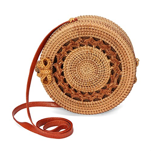 Handwoven Straw Round Rattan Bag with Leather Straps Natural Chic Handbag Shoulder for Beach/Winter Ornament Storage, 7.87''x3.15''