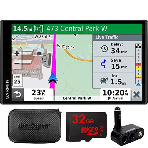 Garmin 010-N2038-02 Drivesmart 65T GPS Navigator (Renewed) Bundle with Dual DC12V 24V Electronic Multifunction Car Socket, 32GB MicroSD Card & Deco Gear Hard EVA Case with Zipper