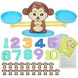 Tnfeeon Juguete de Equilibrio de Mono, Juguete de Desarrollo de Inteligencia temprana de Juego de matemáticas Regalo de Juego de balanza Digital para niños y niñas(marrón)
