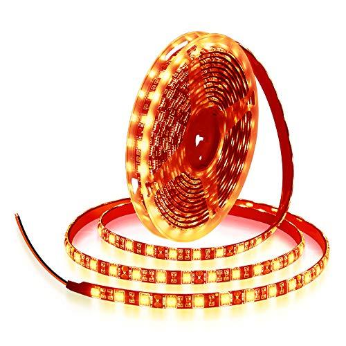 ALITOVE Orange LED Strip Lights 16.4ft 5050 SMD Black PCB 5M 300 LEDs Waterproof IP65 12V DC for Home Hotels Clubs Shopping malls Cars Lighting