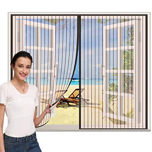 Mosquitera Puerta 170x210cm, Mosquitera Magnética para Puertas, Cerrado automáticamente Plegable Protección contra Insectos, para Ventana Correderas, marrón