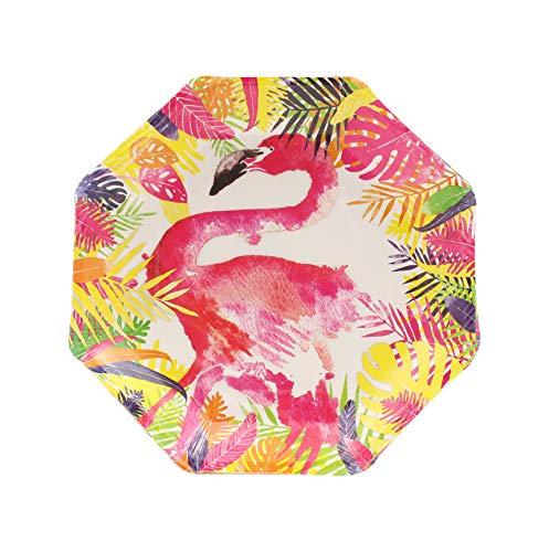 Ginger Ray Lot de 8 assiettes décoratives en papier Motif flamant rose Multicolore