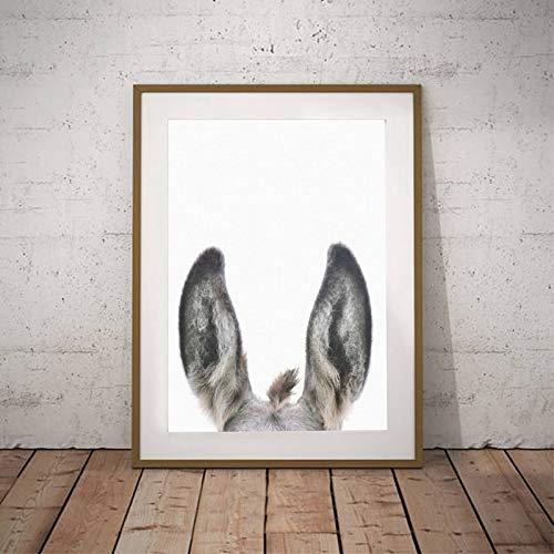 Geiqianjiumai verborgen kat ezel dier gezicht boerderij muur kunstdruk canvas ezel oor fotografie muur afbeelding kinderkamer decoratie frameloos schilderij