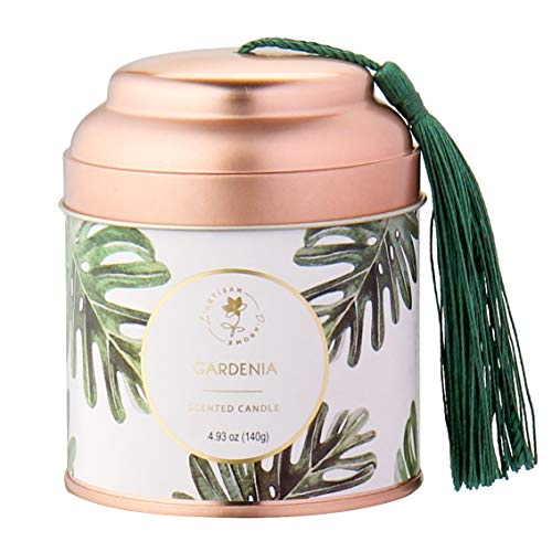 Tin Candle Gardenia Scented Candles for Home Aromatherapy Anniversary Bath Yoga Gifts, 22 Hours Long Burning, Paraffin White Color Wax Weight 5z/140g