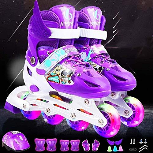Verstellbare Inline-Skates für Kinder für Kinder Rollschuhe Single Flash PVC Set Rollschuhe,Purple Single Flash...