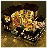 SYLTL DIY Hölzernes Puppenhaus-kit, 11 LED Leuchtet Mondscheinvilla Im Lotus-teich Romantisch DIY...