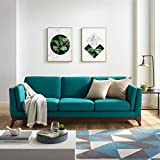 Modway Chance Mid-Century Modern Upholstered Fabric Sofa In Teal