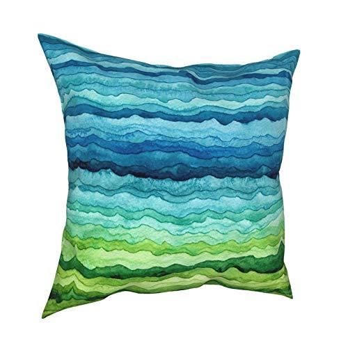 Funda de cojín cuadrada de rayas azules y verdes, funda de cojín estándar para hombres y mujeres, sofá decorativo para el hogar, sillón, sala de estar, 45,7 x 45,7 cm