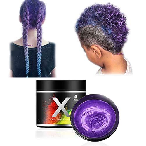 Haarfarbe Wachs, einmalige temporäre Modellierung natürliche Farbe Haarfärbemittel Wachs, temporäre Frisur Creme, Styling-Wachs für Party, Cosplay, Party, Maskerade, Nachtclub, Halloween (Lila)