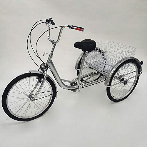 24 Zoll Dreirad FüR Erwachsene 3 Rad Erwachsene Fahrrad Dreirad Erwachsenendreirad 6 Gang Senioren Shopping Bike Trike Mit Licht