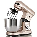 MURENKING Professional Stand Mixer, MK37 500W 5-Qt Bowl 6-Speed Tilt-Head Food Electric Mixer Kitchen Machine,Plastic (Champagne)