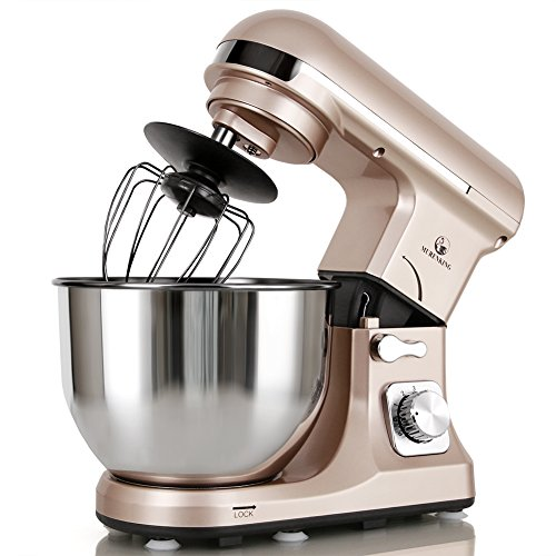 MURENKING Professional Stand Mixer Double Shaft, MK37 500W 5-Qt Bowl 6-Speed Tilt-Head Food Electric Mixer Kitchen Machine,Plastic (Champagne)
