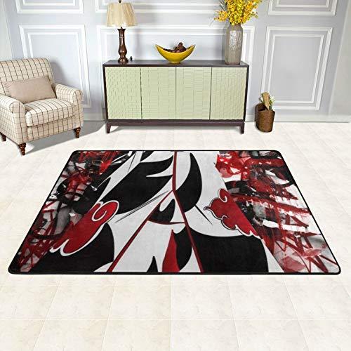 dgdgdg Alfombra Akatsuki de Naruto, apta para sala de estar, dormitorio, zona infantil, suave y cómoda, decoración de casa de arte, 182,88 x 122,92 cm