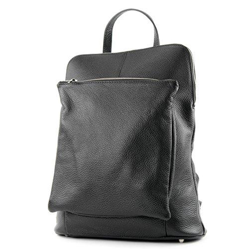 zaino in pelle zaino 3in1 zaino Citybag T141, Colore:nero