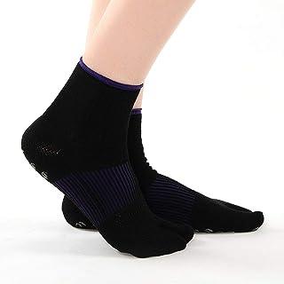 Calcetines de yoga Calcetines de Felpa Antideslizantes Transpirables Negros/morados Malla de Dos Dedos Calcetines de Baile (Color : Black)