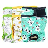 Langsprit Washable Female Dog Diapers (3 Pack) - No Leak Reusable Diapers for Doggy Female in Period - Highly Absorbent Dog Heat Panties with Adjustable Snaps (Koala, Medium)